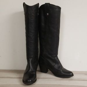 Frye Black Leather Half Knee High Heeled Boots 7B